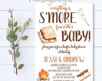 S'more Baby Shower Invitation, Bonfire Baby Shower Invitation, Couples Baby Shower Invitation, Fall Baby Shower Invite, Bonfire Invitation
