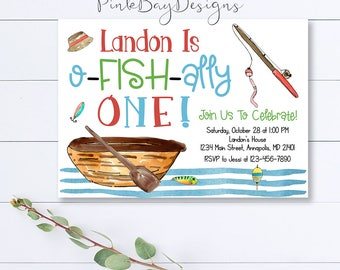Fishing Birthday Invitation, Fishing Invitation, Fishing Party, Fishing First Birthday, Fishing Party Invitation, Fishing Invite, Fishing