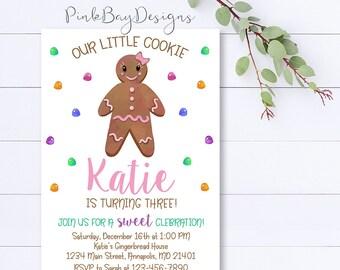 Gingerbread Birthday Invitation, Gingerbread Invitation, Birthday Invitation, Girl Birthday Invitation, Christmas Birthday Invitation