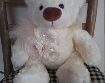 Ivory bear with rhinestone flowers feathers wedding gift