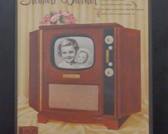 Stewart Warner Vintage TV Ad, Retro Ads, Vintage Decor, Mid Century Decor, Ephemera, Collage , Mixed Media