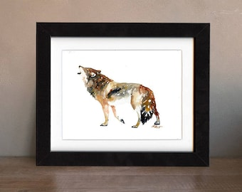 wolf art print, gray wolf, wolf artwork, wolf gift idea, wolf art, wolf wall art, wolf nursery, wildlife art, art print, saltwatercolors