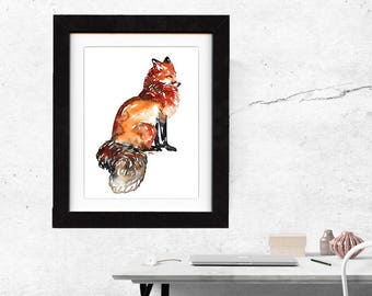 fox art print, red fox, fox artwork, fox gift idea, fox art, fox decor, fox wall art, fox nursery, wildlife art, art print, saltwatercolors
