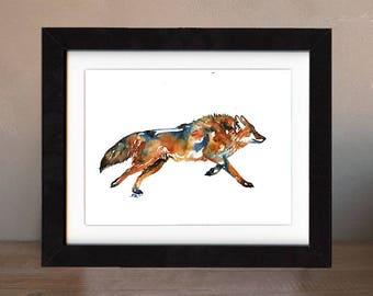 art, wolf, original, paintings, original art, gift, coyote painting, wall art, decor, spirit, totem, animal, wild, saltwatercolors