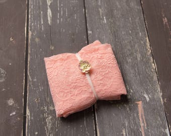 Newborn Lace Wrap Set Peach