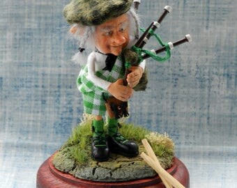 Miniature art doll Bagpiper ( made to order)
