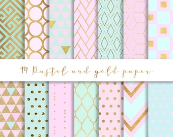 3 FOR 8 Pastel Pink and Gold digital paper 14, Gold paper, pastel pink paper, pink and mint digital paper, pink and gold paper, mint gold