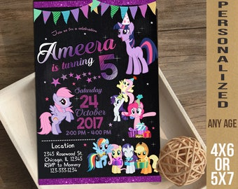 My Little Pony Invitation, My Little Pony Birthday Invitation, Little Pony Birthday, Little Pony Invite, Little Pony Party, Little Pony,FD