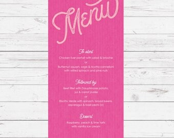 Wedding menu -  pink - Sugar Rush design and printed on top quality card