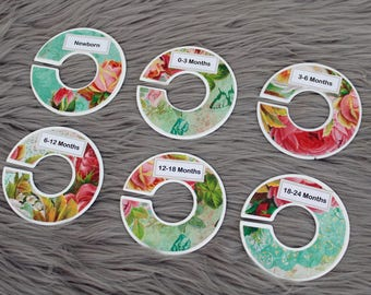 Floral baby closet dividers with flowers for baby nursery or baby shower gift