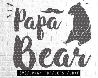 Papa Bear SVG Mama Bear SVG Files DIY Download Print Clipart for Silhouette Cricut Cutting Machine Design