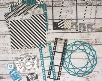 Black, White, Teal & Gold Ephemera Kit, Stash Kit, Junk Journal Kit, Paper Embellishments, Camera Ephemera, Photography Ephemera