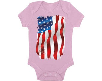 USA Flag Baby Boy Girl Short Sleeve Bodysuits Tops One Piece Bodysuit American Flag Distressed Fourth of July Red White and Blue