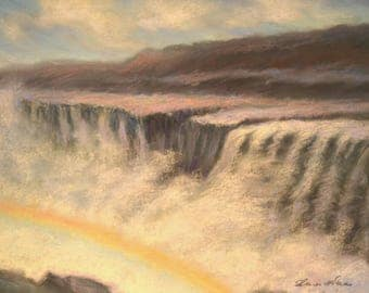 ICELAND Art in Rainbow over DETTIFOSS WATERFALL Landscape Original 8.5 x 11.5 pastel painting by Sharon Weiss