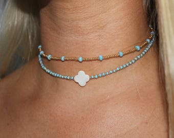 Sea Stripe and Striped Clover Chokers