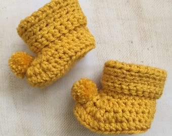 Crochet baby booties with pom poms newborn vintage style soft crocheted shoes for girls and boys 0-3 3-6 and 6-9 months any colour