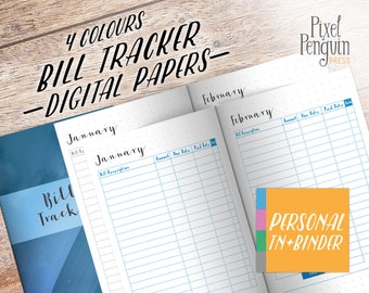 Monthly Bill Tracker Insert, Personal Size Traveler Notebook, Printable Bill Planner Insert Refill, Monthly Planner Page, Bill Pay, Bill Due