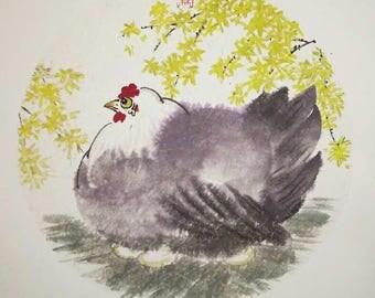 Chicken Art Print, Chicken Painting, Hen Art Print, Original Art Print