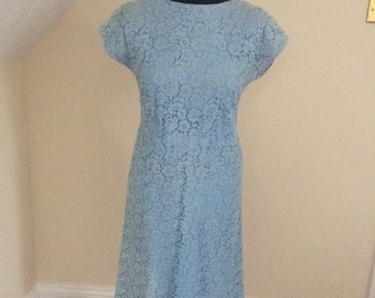 60's shift dress hand made baby blue lace vintage girl retro festival swing lindy hop classic smart below the knee
