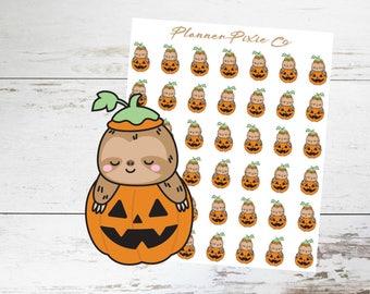 Sloth Planner Stickers // Halloween // Pumpkin // Jack O Lantern