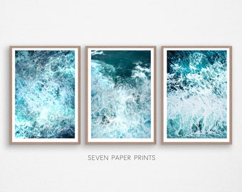 Ocean Poster Decor, 3 piece decor, Ocean Art Print, Ocean Wave Print, Water Beach Decor, Coastal, Water Instant Download, 3 Piece Wall Art