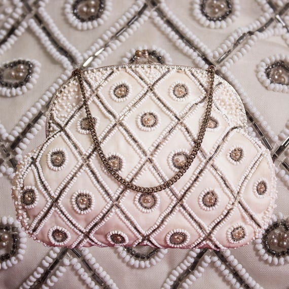 White Beaded Medallion Evening Bag
