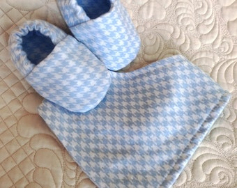 Boy baby bib and booties gift set