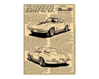 1967 L89 427 Corvette Car Art Print, C2 1967 Sting Ray Corvette,1967 Corvette,67 Corvette Production,67 Corvette Art