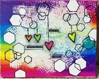 Original Canvas Mixed Media Art, Rainbow Art