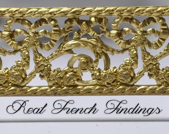 French Ormolu Filigree Bows Floral Cutout Openwork Lamp Banding 1 Foot 530J