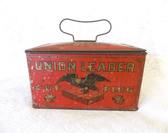 Vintage 1930s Union Leader Tobacco Tin | Cut Plug Smoke and Chew | Tobacco Collectible| Man Cave Decor | Prop