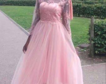 Designer Prom Abaya pink Dress with hand embelishment