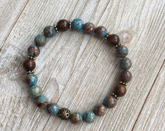 Essential Oil Diffuser Bracelet, Aromatherapy Bracelet, Jasper, Includes 1ml EO Sample Blend, Ships FREE in US