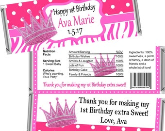 Digital Printable ~ ANY AGE ~ Pink Princess ~ Birthday Candy Bar Wrappers ~ Digital Printable!