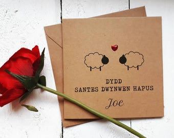 Santes Dwynwen card - dydd santes dwynwen hapus card- sheep card - Welsh - handmade- recycled card - personalised Welsh card - valentines
