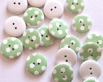 5 mint wooden buttons with polka dots pattern