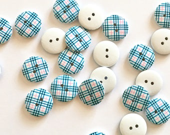 5 navy blue gingham check wooden buttons