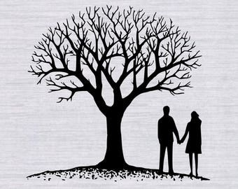 Couple with Tree SVG, SVG Cutting Template and clipart, family tree svg, wedding svg, anniversary svg, svg files for silhouette, cricut, dxf