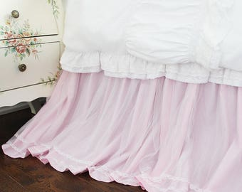 White Pink Lace Overlay Sheer Triple Layer Twin Split Corners Cotton Dust Ruffle Bed Skirt