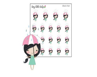 Planner Stickers Doodle Girl Rainy Day