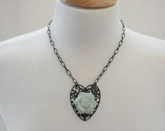 Black Metal Filigree Heart Necklace