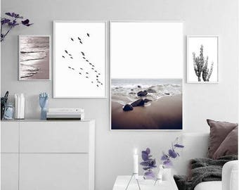 Print Set of 4 taupe brown decor ocean photography nautical decor waves abstract, cacti prints large wall art prints photo download
