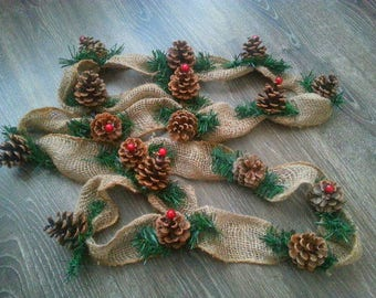 6 foot Burlap Pine cone garland, Rustic Decor, Pine Cone Garland, Burlap garland, wedding garland, rustic home decor, gift idea, natural