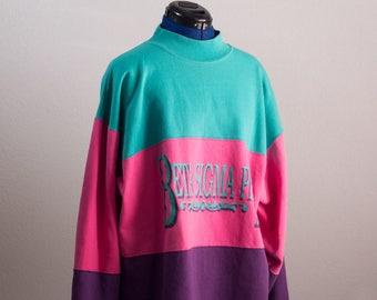 Vintage BETA SIGMA PHI Sorority Sweatshirt Oversized Colorblock Crewneck Chunky Sweater Top Polo Neck Streetwear Hip Hop Fashion Teal