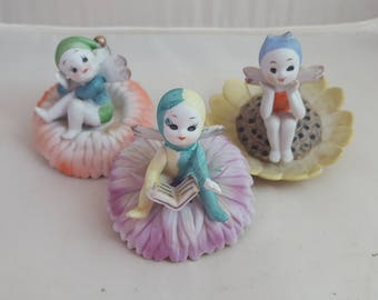 3 Napco Fairies in Flowers Birthday Fairies Fairy
