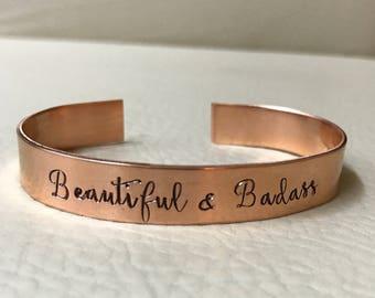 Beautiful & Badass cuff <Nu-gold, Copper or Aluminum>
