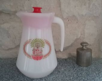 Glass decanter opaline CHAMBOURCY, arcopal retro advertising pitcher water jug vintage 80's - France