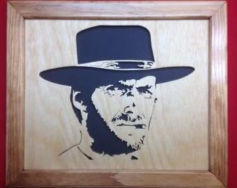 Clint Eastwood Wooden Portrait