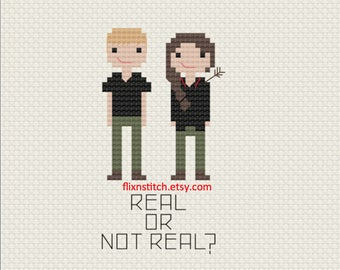 Hunger Games Cross Stitch Fan Art - Real or Not Real? Katniss & Peeta Pattern Digital Download