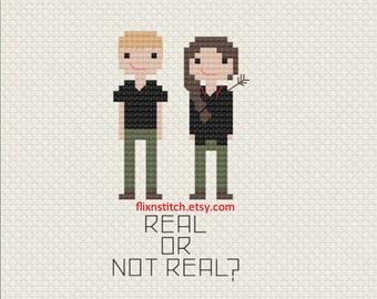 Hunger Games Cross Stitch Fan Art - Real or Not Real? Katniss & Peeta Pattern Digital Download
